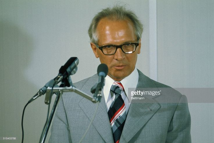 Erich Honecker, leader of East Germany, speaking upon his arrival for European Security Conference Summit. 1975