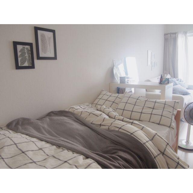 yukey.mさんの、ベッド周り,一人暮らし,ベッドカバー,北欧,ニトリ,アート,のお部屋写真
