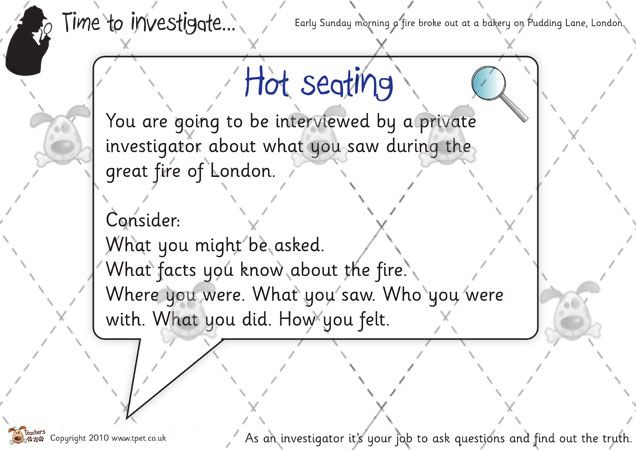 Teacher's Pet Activities & Games » The Great Fire of London Hot Seating » EYFS, KS1, KS2 classroom activity and game resources » A Sparklebox alternative