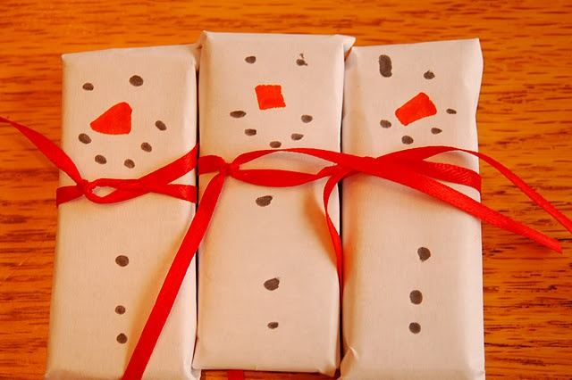 Tiny little chocolate snowman .... cover chocolate bar ...