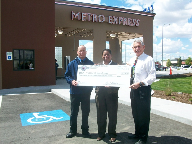 Presenting a check to the Valley Crisis Center after a fundraiser