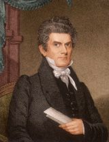 "This is John C. Calhoun of South Carolina. I chose this portrait of him because he was an believer in slavery and a famous leader in the South. During the time of the protective tariff and the nullification crisis, he wrote ""South Carolina Exposition and Protest"" anonymously. This threatened the unity of the the states. He was also the Vice President until 1832 when he resigned because of the tariffs the government kept passing. He later became a great voice in the Senate."