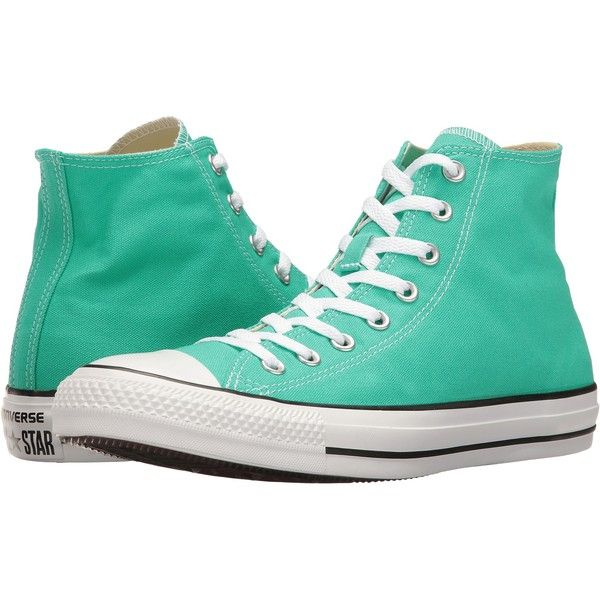 Converse Chuck Taylor All Star Seasonal Color Hi (Menta) Lace up... ($48) ❤ liked on Polyvore featuring shoes, sneakers, green, colorful shoes, converse trainers, multi colored sneakers, lacing sneakers and multi color shoes