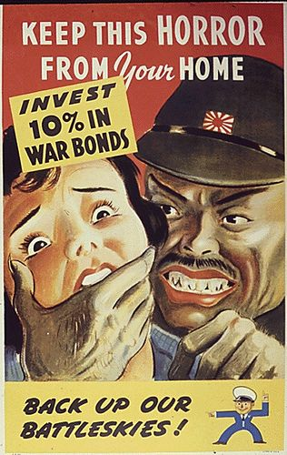 Anti-Japanese WW2 Propaganda Poster : Keep this horror from your home  Invest 10% in war bonds Back up our battleskies!