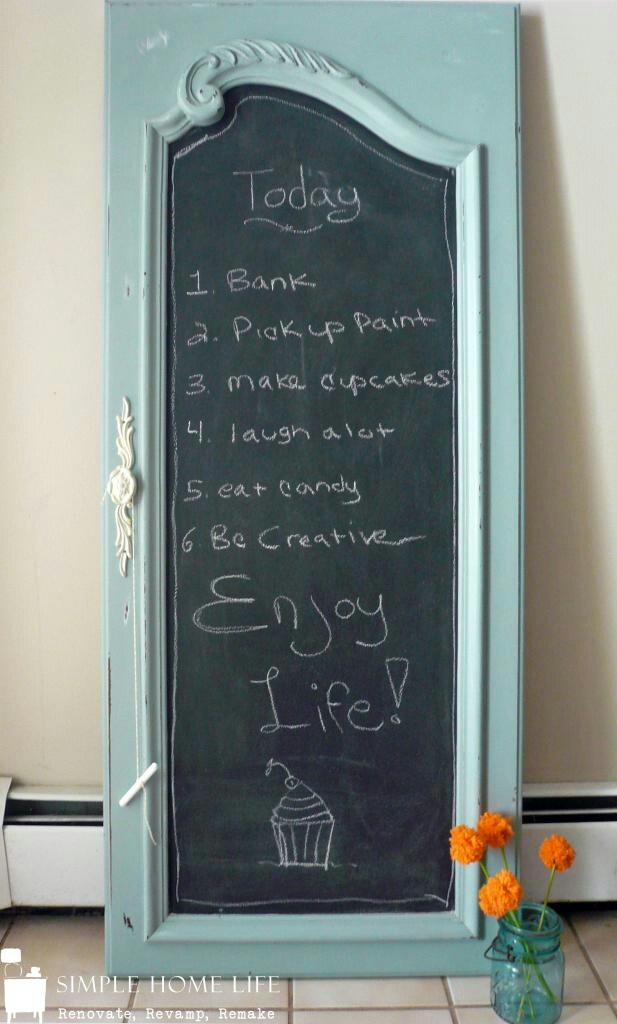 Door repurposed into a chalkboard. I know the chalkboards are in, so this would…