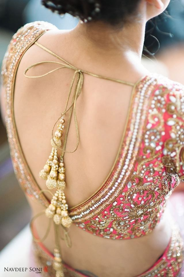 Beautiful open back Blouse, via The Dulhan www.weddingstoryz.com Wedding Storyz | Indian Bride | Indian Wedding |