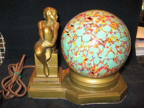 Art Deco Nude Beauty Table Lamp Frankart Nuart Era Czech. Globe Shade Lighting