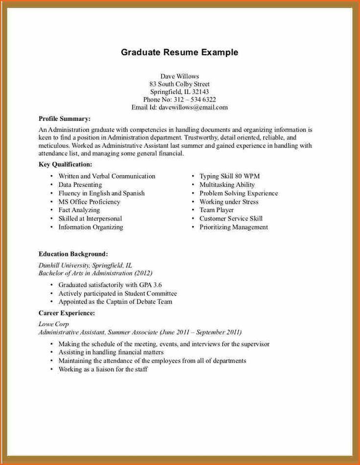 resume with no work experience college student 3543