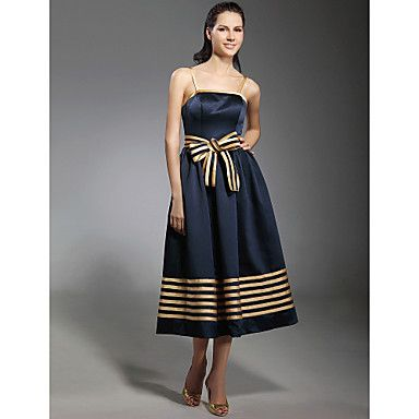 TS+Couture®+Cocktail+Party+Dress+-+1950s+Plus+Size+/+Petite+A-line+/+Princess+Spaghetti+Straps+Tea-length+Stretch+Satin+with+Bow(s)+/+Sash+/+Ribbon+–+USD+$+99.99