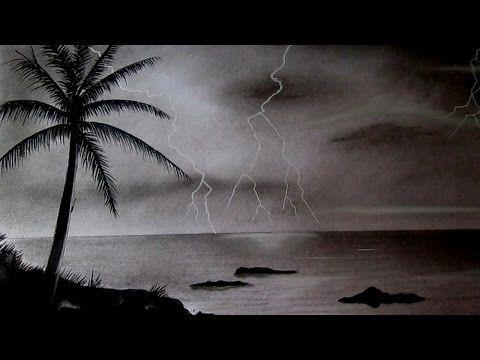 Cómo dibujar un paisaje al carboncillo paso a paso, dibujo de un atardecer - YouTube