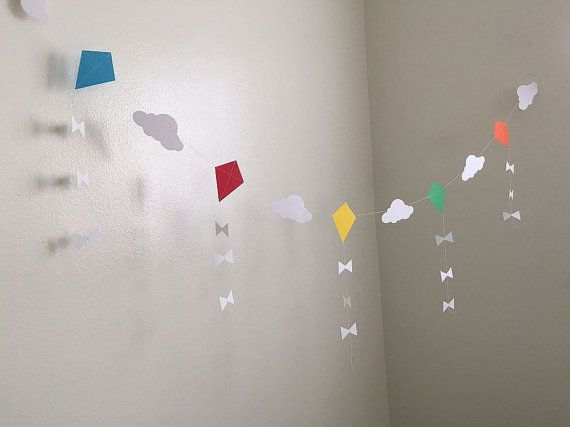 Let's Go Fly a Kite Party Paper Garland Kite Baby Shower Decor Kite Birthday Party Decoration Kites Nursery Kite Room Decor Custom Colors Kite Party Decorations Let's Go Fly a Kite Party Paper Garland Kite by ClassicBanners