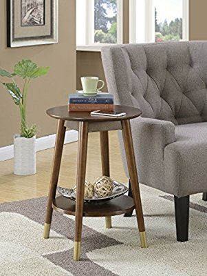f8af7b16293 Amazon.com  Convenience Concepts Wilson Mid-Century Round End Table with  Bottom Shelf