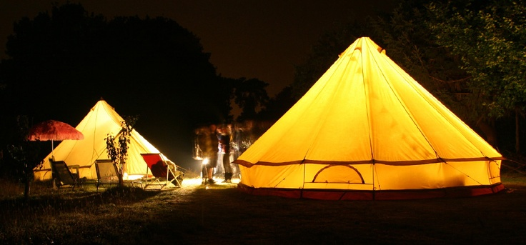 Huge bell tents, Boutique Camping