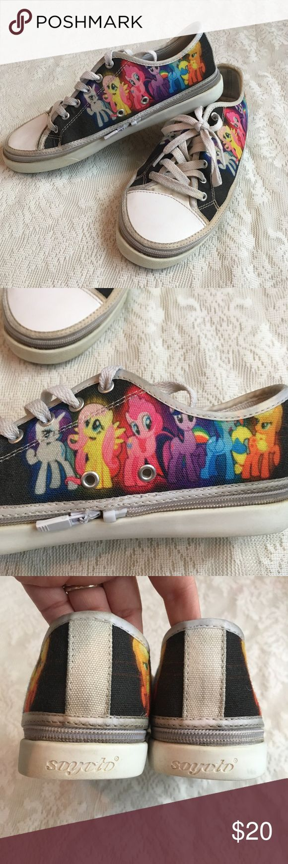 """Custom My little pony zip up sneakers Adorable """"My Little Pony"""" custom converse style shoes with Pinkie Pie, Rainbow Dash, Fluttershy, Apple Jack, Twilight Sparkle and Rarity. Unisex. The tops have a zipper to switch out other tops available from the company! Light wear, but a super cute must have for Pony Fanatics! Soyoto Shoes Sneakers"""