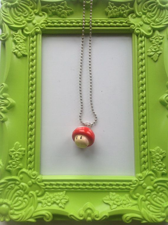 Mario themed 3D Mushroom necklace by NJscollection on Etsy, £3.50