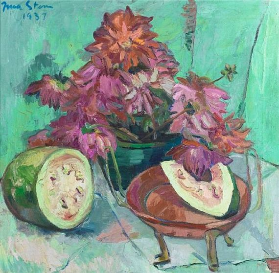 Still life with watermelon and dahlias By Irma Stern 1937