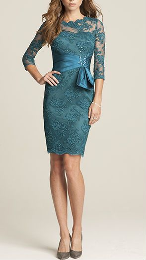 Teal lace cocktail dress by Teri Jon - a gorgeous choice for the mother of the groom or mother of the bride!