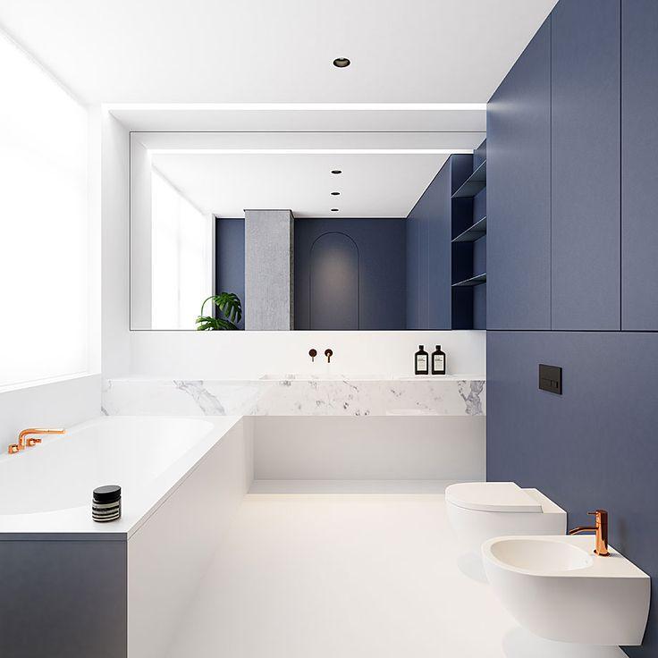El arquitecto ucraniano Emil Dervish realizó el proyecto de reforma de este apartamento minimalista de 90 m2, con cálidos toques de cuero y cobre