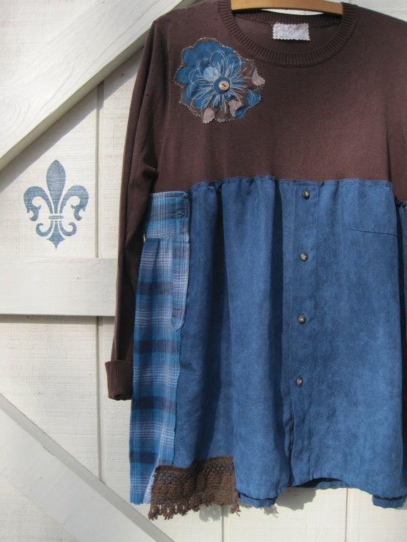Boho dress mini tunic Rustic dress Gypsy cowgirl by ShabyVintage