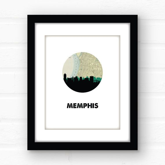 Memphis, Tennessee art print featuring the Memphis skyline and a vintage Memphis map:   Ive always loved that line Porch swing swayin like a Tennessee lullaby from Maybe it was Memphis...a wonderful tribute to southern summer nights. And I can attest - southern summer nights are pretty darned awesome.  ________________________________________________________ And now you can choose your font! Check out the four fonts that I offer and choose your favorite from the drop down menu…