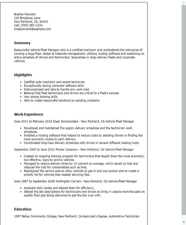 The 25+ best Good resume examples ideas on Pinterest Good resume - auto mechanic sample resume