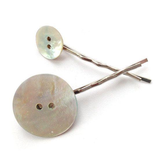Shell Button Hair Slide - Button Jewellery - Fun Hair Accessories - Hair Slides on Etsy, £4.00
