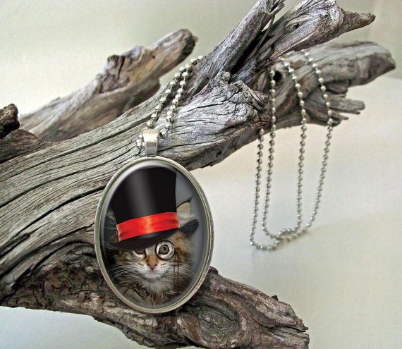 Red ribbon cat steampunk style glass cab pendant by ArtiFartiGifts