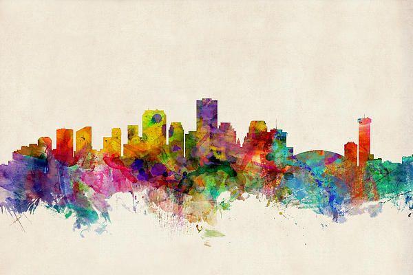 Michael tompsett new Orleans skyline watercolor