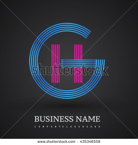 Letter GH or HG linked logo design circle G shape. Elegant blue and red colored letter symbol. Vector logo design template elements for company identity.