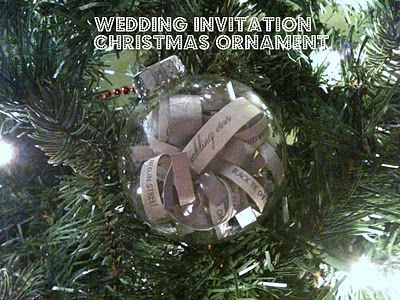 Turn your wedding invitation into a Christmas ornament.  Cheap and easy to make.  DIY tutorial. Use a baby announcement or shower invitation too.