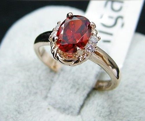 18K Gp Gold Plated Crystal Red Purple Champagne Ring Size :6-9