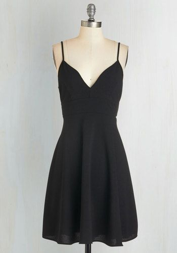 Tour de Dance Dress - Black, Solid, Girls Night Out, LBD, A-line, Spaghetti Straps, Fall, Winter, Woven, Backless, Party, Mid-length