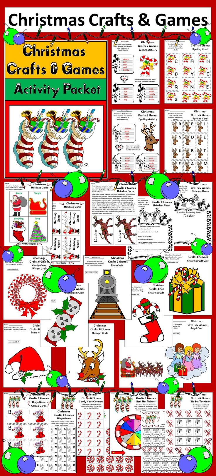 Christmas Crafts and Games: Packet full of fun activities and crafts for the Christmas season. Contents include: * 9 Christmas Crafts * 2 Spelling Activities & Cards * Reindeer Race Dice/Card Game * Christmas Reindeer Record Sheets * Reindeer Observation Sheet * Peppermint Spinner * Math Mat * 2 Set of Counters - Peppermints & Candy Canes * Tic Tac Toe Board * Bingo Card * Set of Bingo Caller Cards * Matching Card Game * Coloring Sheets