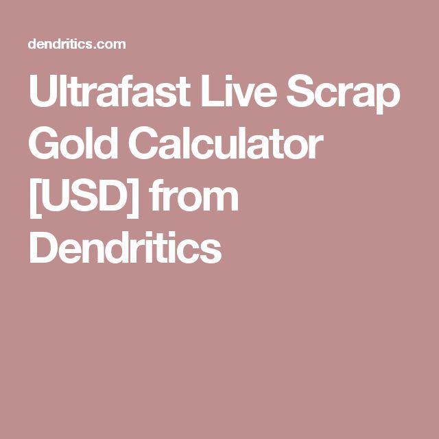 Ultrafast Live Scrap Gold Calculator [USD] from Dendritics