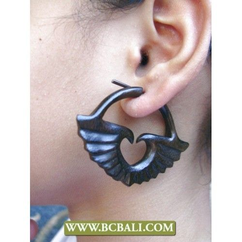 Pierced Wooden Earring Carved - fashion accessories from bali indonesia, handmade wooden earring carved, wholesaler jewellery wooden earring from bali indonesia