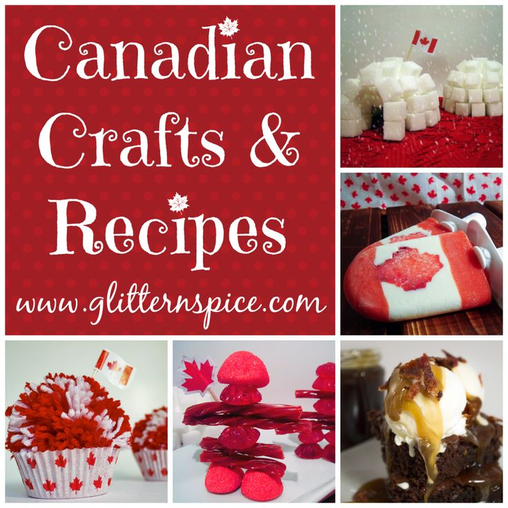 Canadian crafts and recipes for Canada Day celebrations including pom pom cupcakes, sugar cube igloos, Canadian Flag popsicles and more.