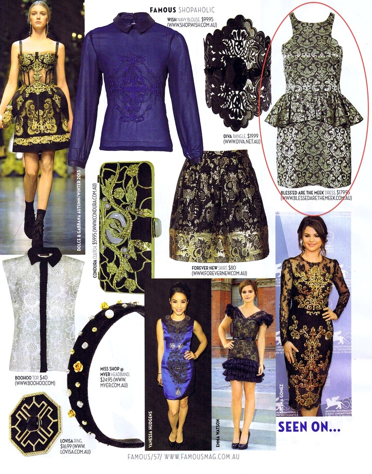 The Sword & Cross Dress nails the brocade trend in this editorial spread in FAMOUS!