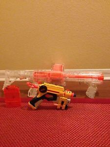 Clear Nerf Raider w/clear drum mag, clear clip, and pistol! MISSING Night Finder EX-3 (yellow) that came with this - should be sent after christmas