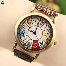 Bluelans Retro Women's Flower Printed Eiffel Tower Denim Strap Wrist Watch