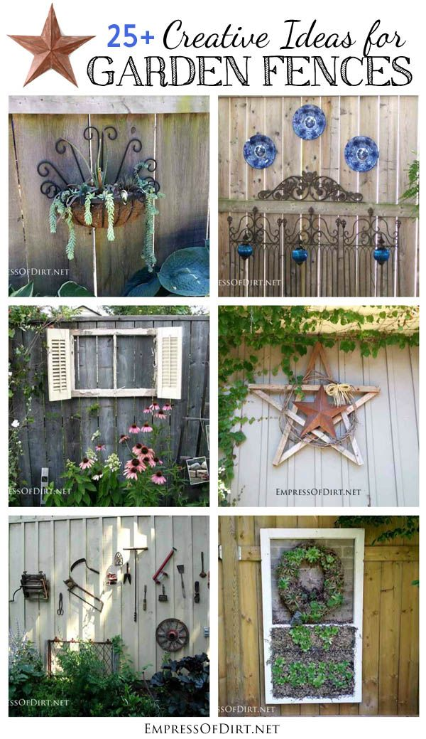 25+ Creative Ideas For Garden Fences using garden art, junk, and repurposed household items