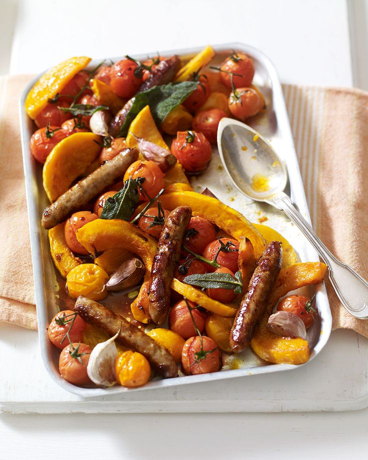 Midweek meals should have minimal prep and even less washing up – this shortcut recipe uses prepared butternut squash, chipolatas and vine tomatoes to make a quick one-pot dinner.