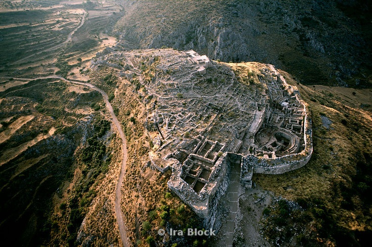 Aerial photo of Mycenae ruins where a great civilization lived in the 2nd millennium BC
