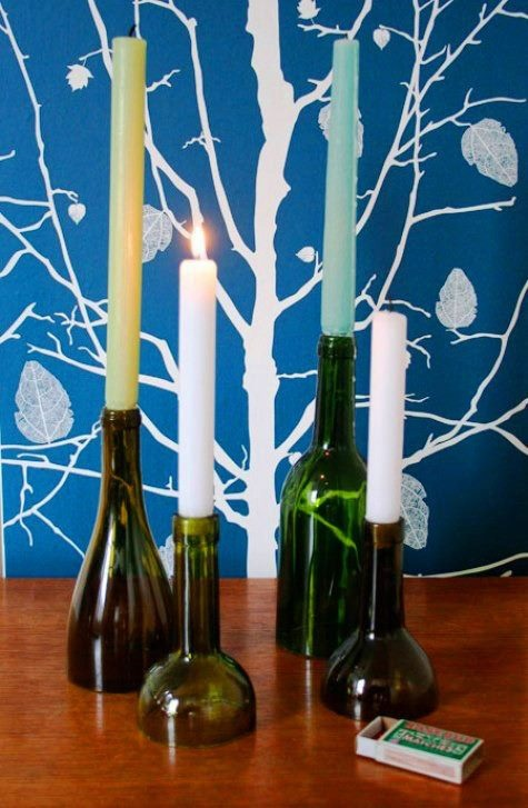 Cut down wine bottles to make candle holders