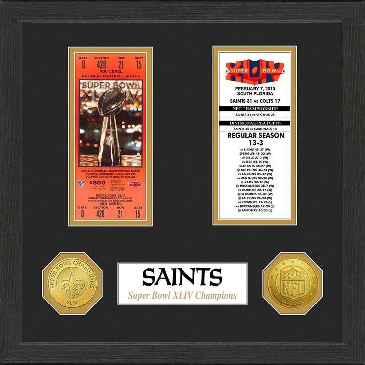 New Orleans Saints Super Bowl Ticket Collection Plaque