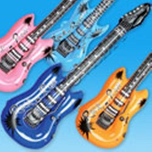 """12 Huge Large 42"""" Inch Rock And Roll Theme Inflatable Guitars Kids Party Favors"""