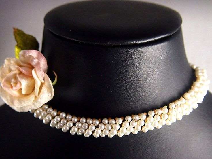 "Vintage Pearl with Gold Tone back Book-chain Collar Necklace with hook clasp circa 1950 Length 40cm (15 3/4"") and can be shortened using extender chain, as per"