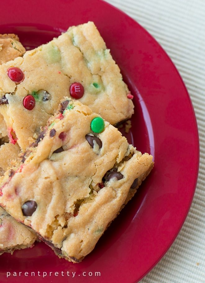 Cake Mix Cookie Bars. Yellow cake mix box, instant vanilla pudding, chocolate chips…mix…bake 20-30 minutes… cute with red and green for Christmas (: