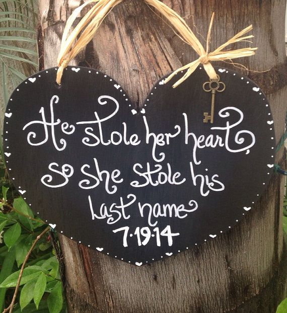 He stole her heart wedding sign rustic wedding by SoCalWeddingGal, $19.99
