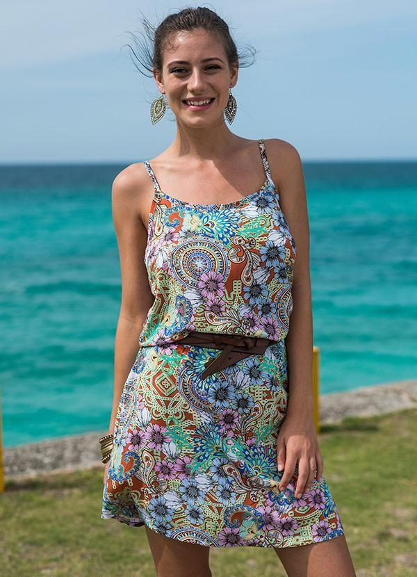 5f15f0642 VESTIDO DE ALCINHA LARANJA Vestido estampado básico com elástico na cintura  e alças finas com ajuste.  vestidoscurtos