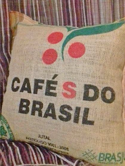 Coffee Burlap pillow case  rustic style great for cafe by Armenos